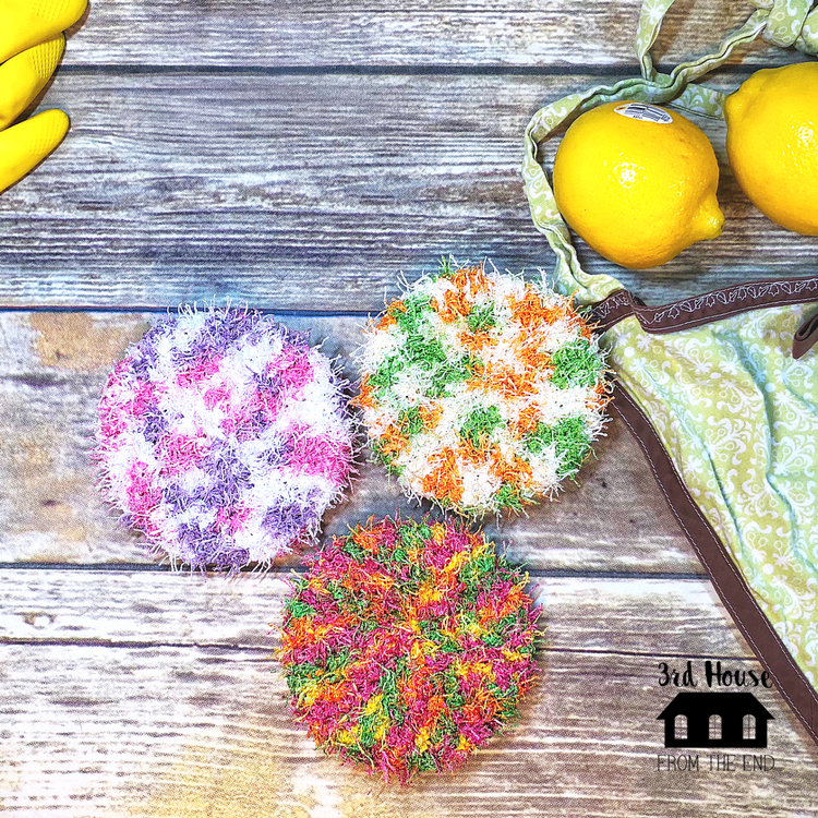 Spring Cleaning Bulky Dish Scrubbie Crochet Pattern 3rd House
